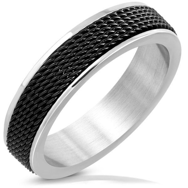 Amanto Ring Akram Black - Heren - 316L Staal - Mesh Band - 6 mm -11560