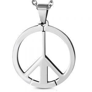 Amanto Ketting Allan - Heren - 316L Staal - Rond - Peace - 60 cm-0
