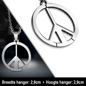Amanto Ketting Allan - Heren - 316L Staal - Rond - Peace - 60 cm-11893