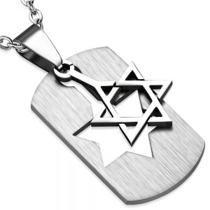 Amanto Ketting Alfons - Heren - 316L Staal - Dogtag - Davidster - 38 x 23 mm - 60 cm-0