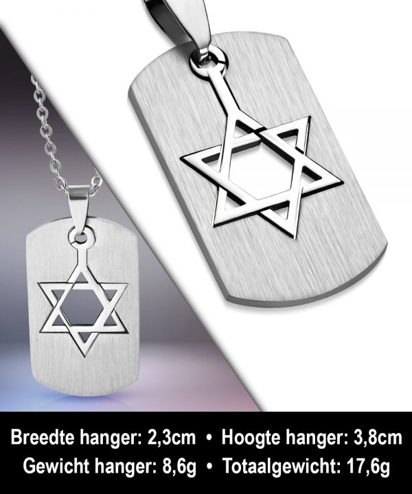 Amanto Ketting Alfons - Heren - 316L Staal - Dogtag - Davidster - 38 x 23 mm - 60 cm-11861
