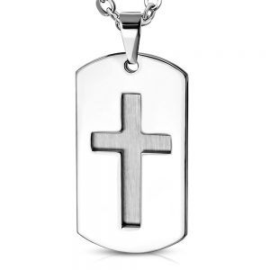 Amanto Ketting Alune - Heren - 316L Staal - Kruis - Dogtag - 60 cm-0
