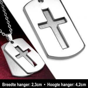 Amanto Ketting Alune - Heren - 316L Staal - Kruis - Dogtag - 60 cm-11929