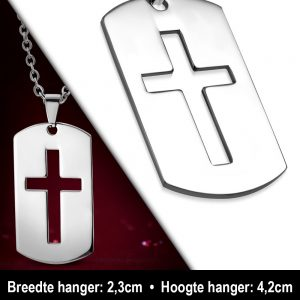 Amanto Ketting Altan - Heren - 316L Staal - Kruis - Dogtag - 60 cm-11925
