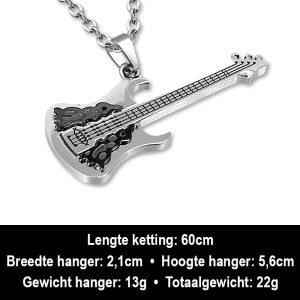 Amanto Ketting Anar - Heren - 316L Staal - Muziek - Gitaar - 56 x 21 mm - 60 cm-12277