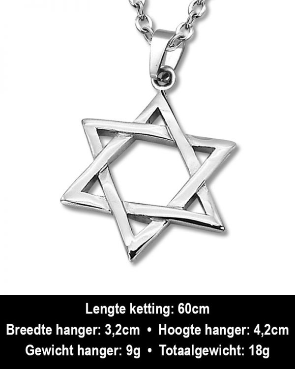 Amanto Ketting Ancel - 316L Staal - Davidster - 42x32mm - 60cm-12290
