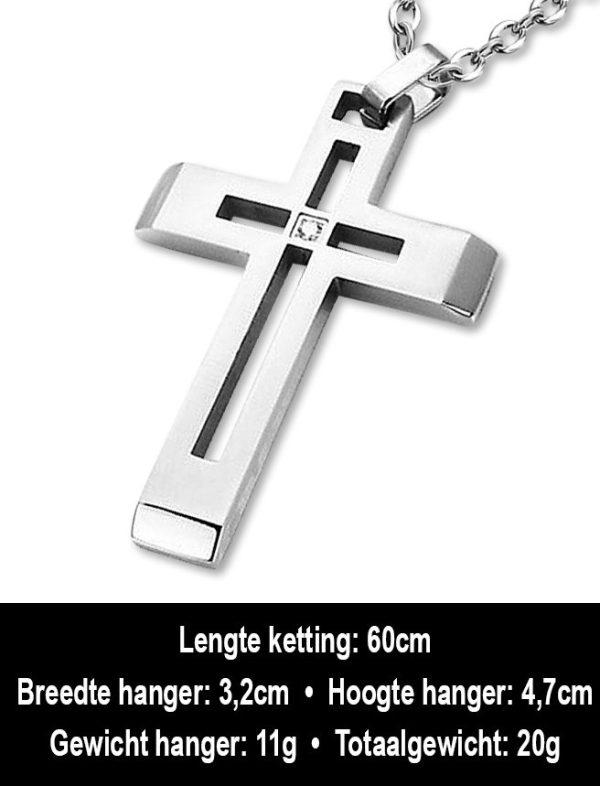 Amanto Ketting Andes - Heren - Staal - Zirkonia - Kruis - 32x47mm - 60cm-12298