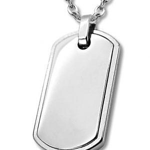 Amanto Ketting Andy - Heren - 316L Staal - Graveer - Dogtag - 35 x 19 mm - 60 cm-0