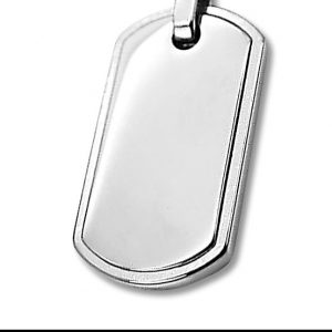 Amanto Ketting Andy - Heren - 316L Staal - Graveer - Dogtag - 35 x 19 mm - 60 cm-12314