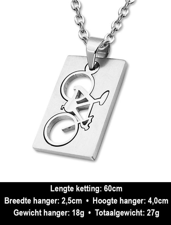 Amanto Ketting Anil - 316L Staal - Sport - Fiets - 40x25mm - 60cm-12330