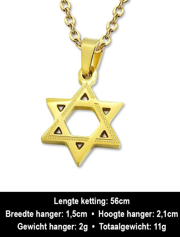 Amanto Ketting Anko - Heren - 316L Staal - Symbool - Davidster - ∅ 21 mm - 60 cm-12337