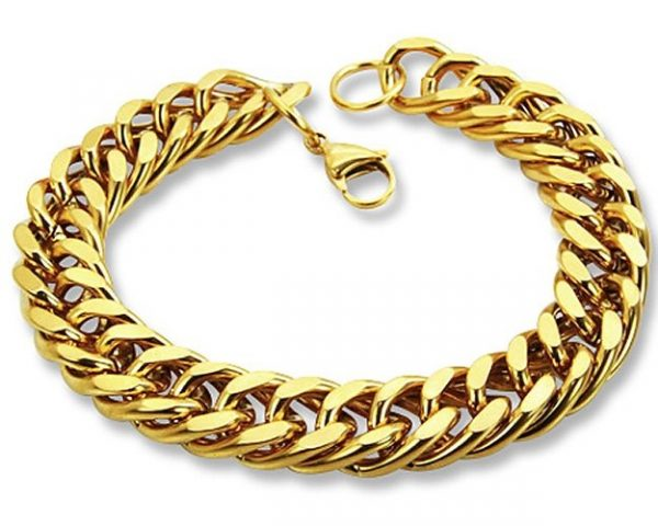 Amanto Armband Adje - Heren - 316L Staal Goud PVD-12mm-22cm-0