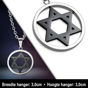 Amanto Ketting Ali - Heren - 316L Staal - Rond - Davidster - 60cm-11869