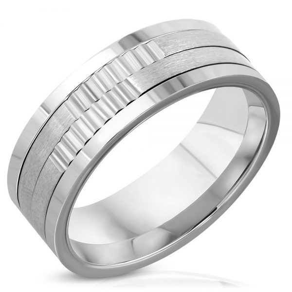 Amanto Ring Akif - Heren - 316L Staal - 8 mm-0
