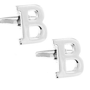 Amanto manchetknopen Letter B - Heren - Metaal - Alfabet - 16x13mm-0