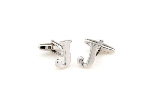 Amanto manchetknopen Letter J - Heren - 316L Staal - Alfabet - 17x12mm-12510