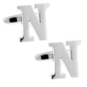 Amanto Manchetknopen Letter N - Heren - Metaal - Messing - Alfabet - 15 x 14 mm-0