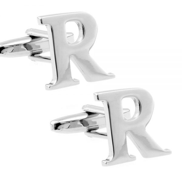 Amanto manchetknopen Letter R - 316L Staal - Alfabet - 14x20mm-0