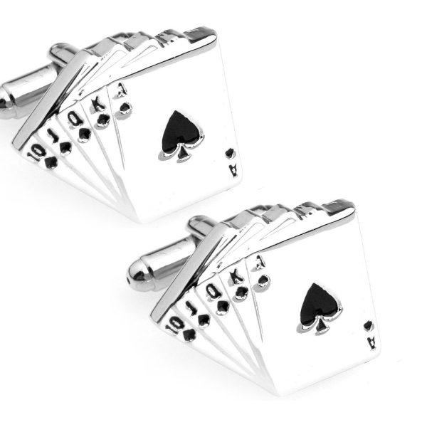 Amanto Manchetknopen Arthur - Heren - Staal - Spel - Poker - 19x22,5mm-12698