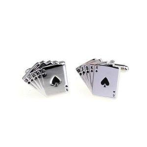 Amanto Manchetknopen Arthur - Heren - Staal - Spel - Poker - 19x22,5mm-0