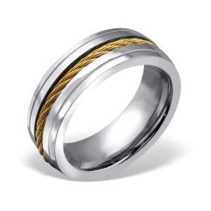 Amanto Ring Aylan - Heren - 316L Staal Goud PVD - Zirkonia - 8 mm-0