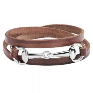 Montebello Armband Bliss Brown Z - Dames - Leer - Metaal - 5 mm - 60 cm-0