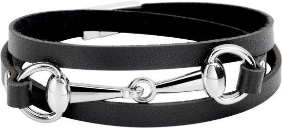 Montebello Armband Bliss Black Z - Dames - Leer - Metaal - 5 mm - 60 cm-0