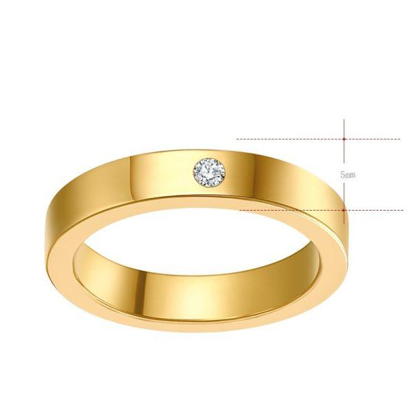 Montebello Ring Tabea Gold - Unisex - 316L Staal - Zirkonia - Trouw - 5 mm -13164