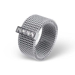 Montebello Ring Parmis - Dames - 316L Staal - Zirkonia - 8 mm-0