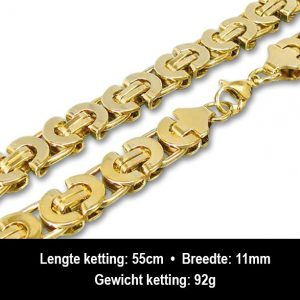 Amanto Ketting Balian Gold - Staal PVD Verguld - 11mm - 55cm-13192