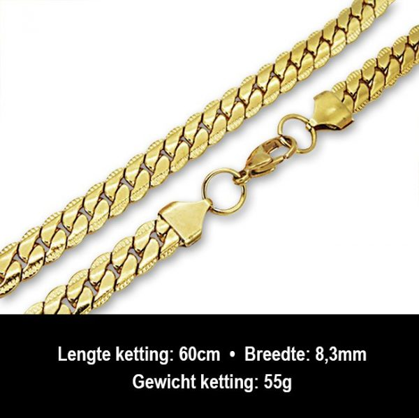 Amanto Ketting Barlas - 316L Staal PVD Verguld - 8mm - 60cm-13220