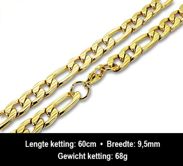 Amanto Ketting Barre - Heren - 316L Staal Goud PVD - 9,5 mm - 60 cm-13228