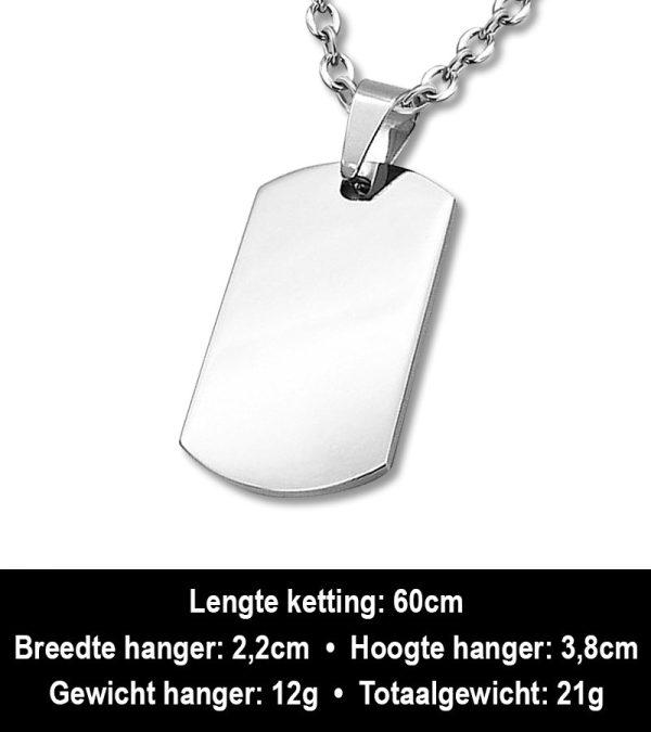 Amanto Ketting Arja - Heren - Staal - Graveer - Dogtag - 38x22mm - 60cm-12460