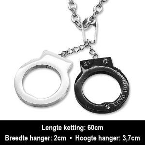 Amanto Ketting Anxin Black - Heren - 316L Staal - Zirkonia - Handboeien - 20 x 37 mm - 60 cm-12392