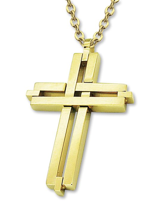 Amanto Ketting Arber Gold - Heren - 316L Staal Verguld PVD - Kruis - 50 x 31 mm - 60 cm-0