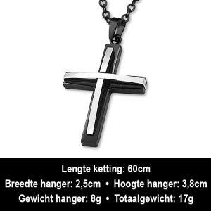 Amanto Ketting Arhat - Heren - 316L Staal - Kruis - 25 x 28 mm - 60 cm-12452