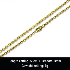 Amanto Ketting Baruch G - Heren - 316L Staal PVD - Anker - 3mm - 50cm-13255