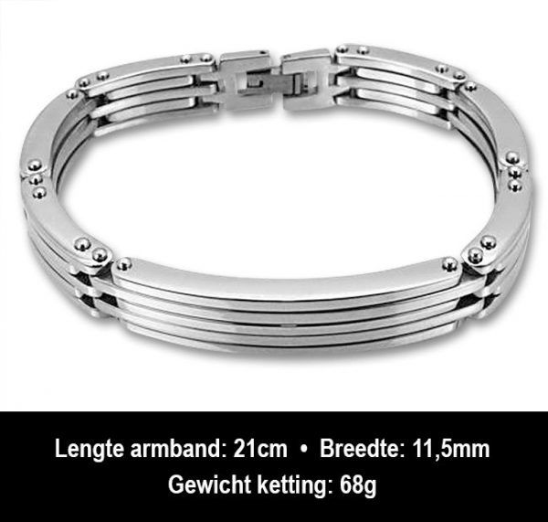 Amanto Armband Bas - Heren - 316L Staal - 11,5 mm - 21 cm-13258