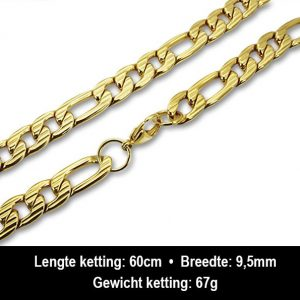 Amanto Ketting Bassam - Heren - 316L Staal PVD - 9,5mm - 60cm-13279