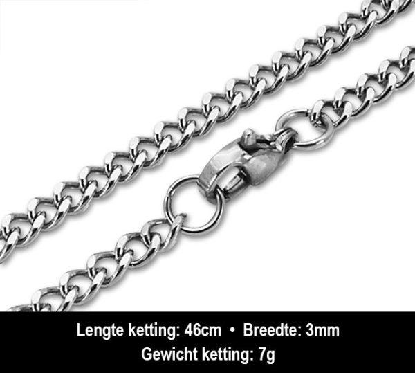 Amanto Ketting Basten - Heren - 316L Staal - 3mm - 46cm-13283