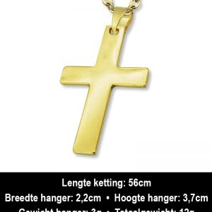 Amanto Ketting Ard Gold - 316L Staal - Kruis - 22x37mm - 60cm-12436