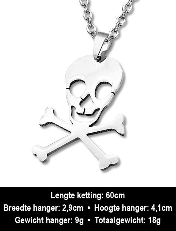 Amanto Ketting Arend - Heren - 316L Staal - Doodshoofd - 29 x 41 mm - 60 cm-12444