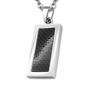 Amanto Ketting Archel - Heren - 316L Staal - Carbon - 15 x 35 mm - 60 cm-0
