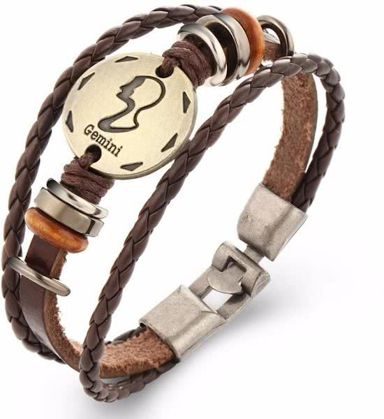 Montebello Armband Tweeling - Unisex - Leer - Metaal - Horoscoop - 22 cm-0