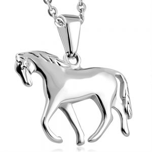Amanto Ketting Borys - 316L Staal PVD - Paard - 20x24mm - 45cm-0