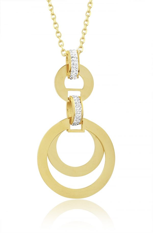 Montebello Ketting Blyss K - Dames - 316L Staal Goud PVD - Zirkonia - Rond - 74 x 40 mm - 50 cm-0