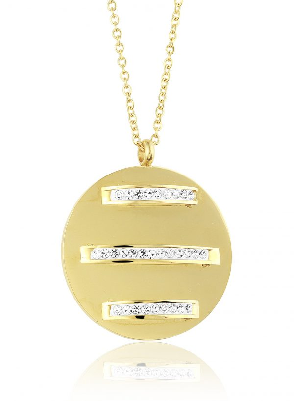 Montebello Ketting Boan K - Dames - 316L Staal Goud PVD - Zirkonia - Rond - ∅ 36 mm - 50 cm-0