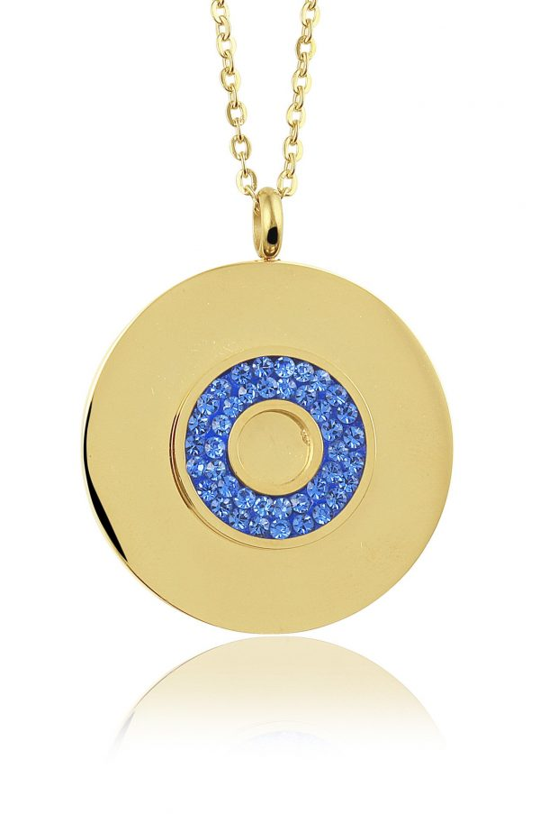 Montebello Ketting Bode Blue K - Dames - 316L Staal Goud PVD - Zirkonia - Rond - ∅ 35 mm - 50 cm-0