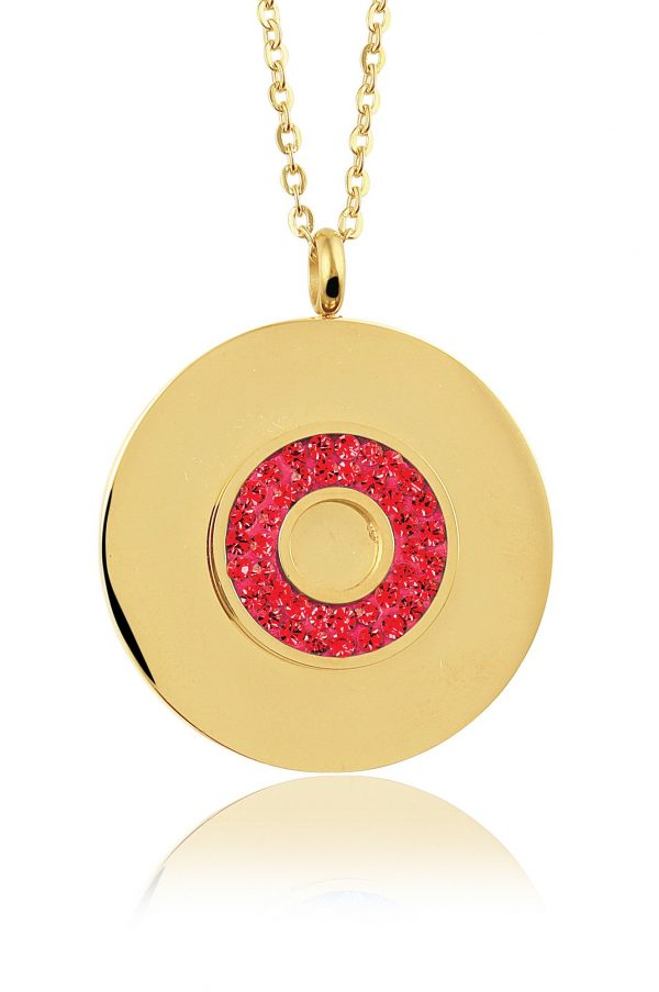 Montebello Ketting Bode Red K - Dames - 316L Staal Goud PVD - Zirkonia - Rond - ∅ 35 mm - 50 cm-0