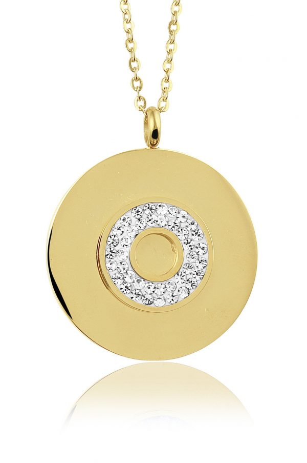 Montebello Ketting Bode White K - Dames - 316L Staal Goud PVD - Zirkonia - Rond - ∅ 35 mm - 50 cm-0